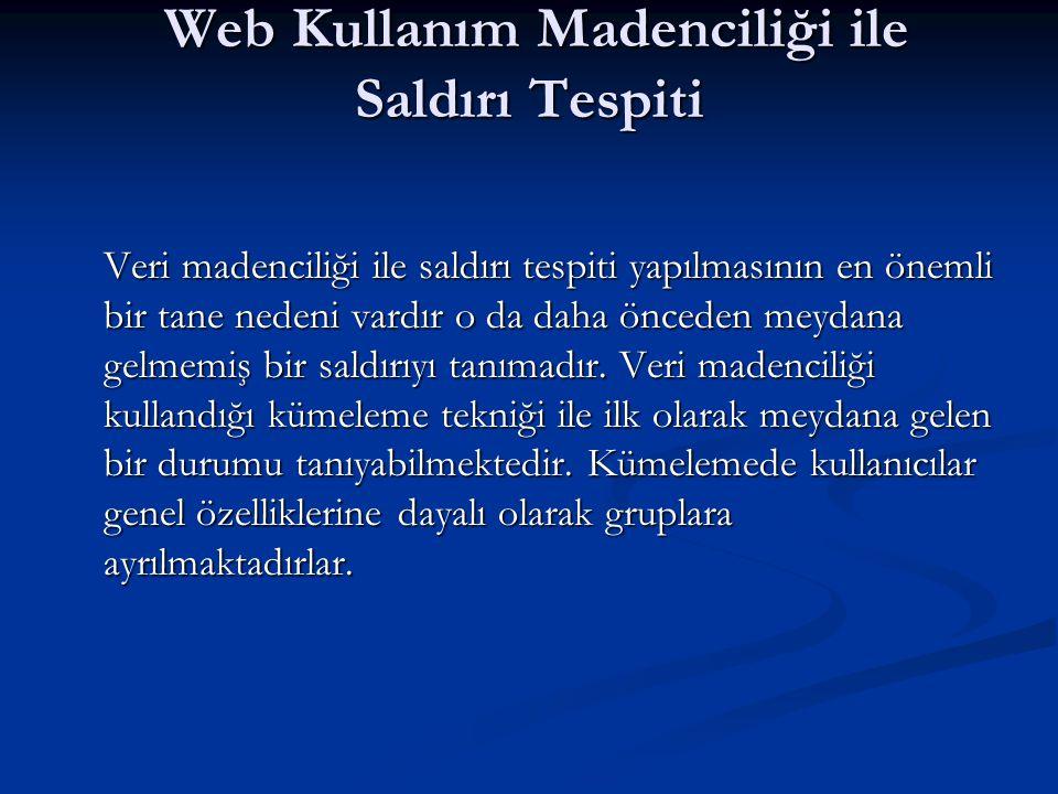 Web Kullanım Madenciliği ile Saldırı Tespiti Web Kullanım Madenciliği ile Saldırı Tespiti Veri madenciliği ile saldırı tespiti yapılmasının en önemli