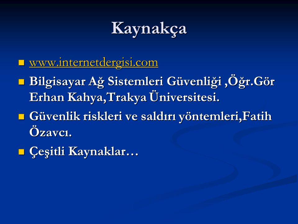 Kaynakça www.internetdergisi.com www.internetdergisi.com www.internetdergisi.com Bilgisayar Ağ Sistemleri Güvenliği,Öğr.Gör Erhan Kahya,Trakya Ünivers