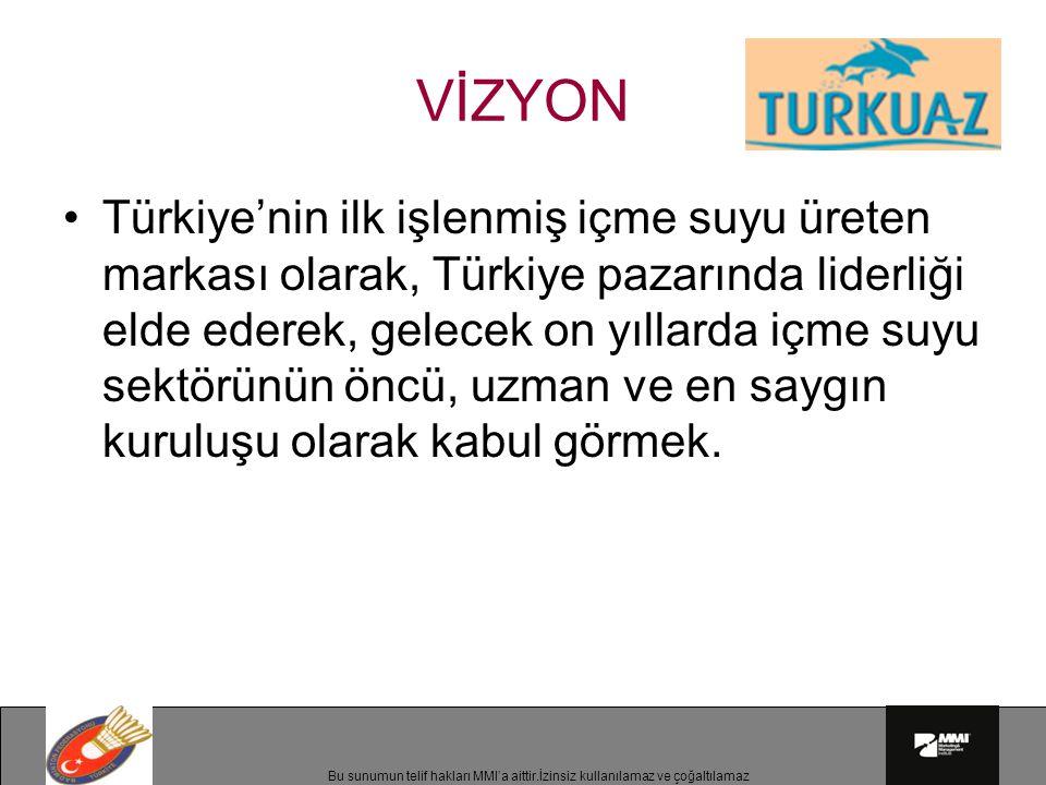 Bu sunumun telif hakları MMI'a aittir.İzinsiz kullanılamaz ve çoğaltılamaz Türkiye'nin ilk işlenmiş içme suyu üreten markası olarak, Türkiye pazarında liderliği elde ederek, gelecek on yıllarda içme suyu sektörünün öncü, uzman ve en saygın kuruluşu olarak kabul görmek.