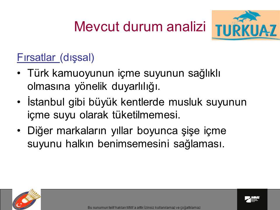 Bu sunumun telif hakları MMI'a aittir.İzinsiz kullanılamaz ve çoğaltılamaz Mevcut durum analizi Fırsatlar (dışsal) Türk kamuoyunun içme suyunun sağlıklı olmasına yönelik duyarlılığı.
