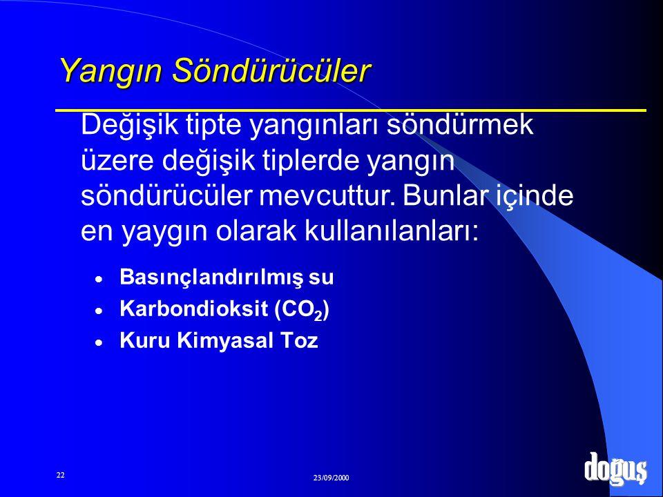 22 23/09/2000 Yangın Söndürücüler BBasınçlandırılmış su KKarbondioksit (CO 2 ) KKuru Kimyasal Toz Değişik tipte yangınları söndürmek üzere değiş