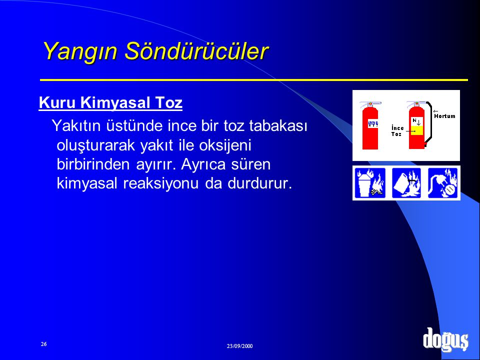 26 23/09/2000 Yangın Söndürücüler Kuru Kimyasal Toz Yakıtın üstünde ince bir toz tabakası oluşturarak yakıt ile oksijeni birbirinden ayırır. Ayrıca sü