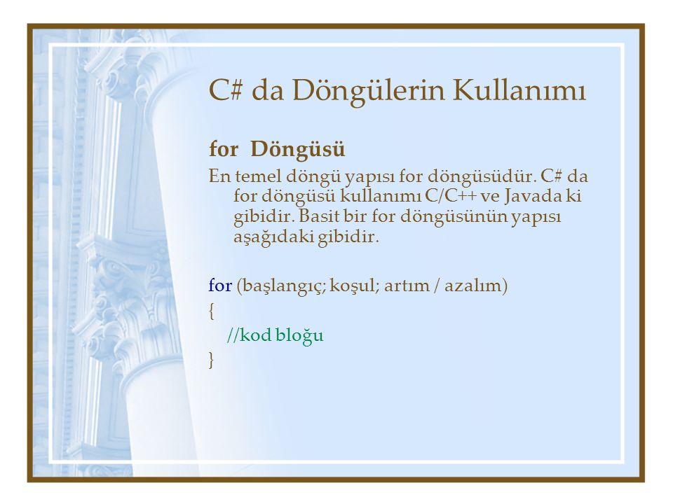 C# da Döngülerin Kullanımı for Döngüsü En temel döngü yapısı for döngüsüdür.