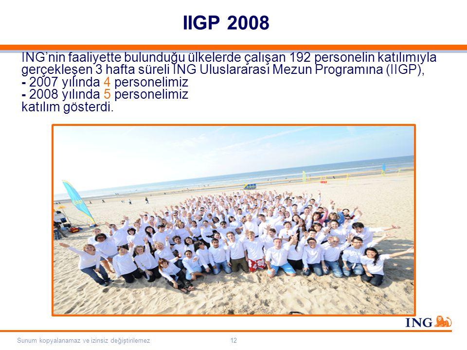 Do not put content on the brand signature area Orange RGB= 255,102,000 Light blue RGB= 180,195,225 Dark blue RGB= 000,000,102 Grey RGB= 150,150,150 ING colour balance Guideline www.ing-presentations.intranet Sunum kopyalanamaz ve izinsiz değiştirilemez12 IIGP 2008 ING'nin faaliyette bulunduğu ülkelerde çalışan 192 personelin katılımıyla gerçekleşen 3 hafta süreli ING Uluslararası Mezun Programına (IIGP), - 2007 yılında 4 personelimiz - 2008 yılında 5 personelimiz katılım gösterdi.