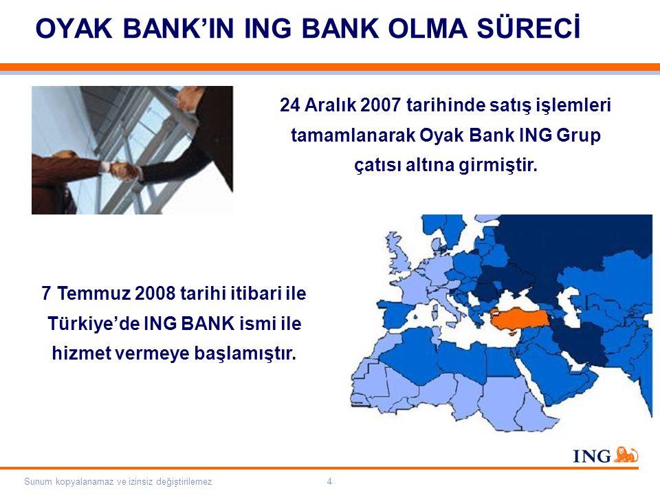 Do not put content on the brand signature area Orange RGB= 255,102,000 Light blue RGB= 180,195,225 Dark blue RGB= 000,000,102 Grey RGB= 150,150,150 ING colour balance Guideline www.ing-presentations.intranet Sunum kopyalanamaz ve izinsiz değiştirilemez4 OYAK BANK'IN ING BANK OLMA SÜRECİ 24 Aralık 2007 tarihinde satış işlemleri tamamlanarak Oyak Bank ING Grup çatısı altına girmiştir.