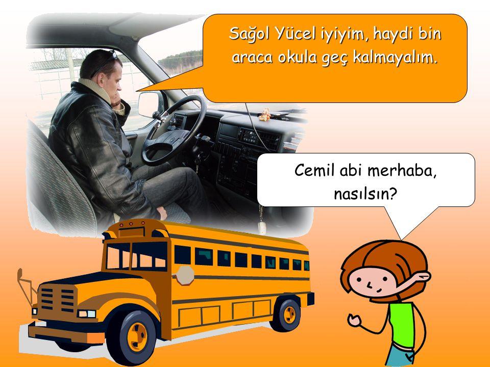 Bu abi bizim servis şoförümüz. Bizi okuldan eve, evden okula taşıyor. Servise düzgün binip, sessiz oturmak ona yapabileceğimiz en kolay yardım !