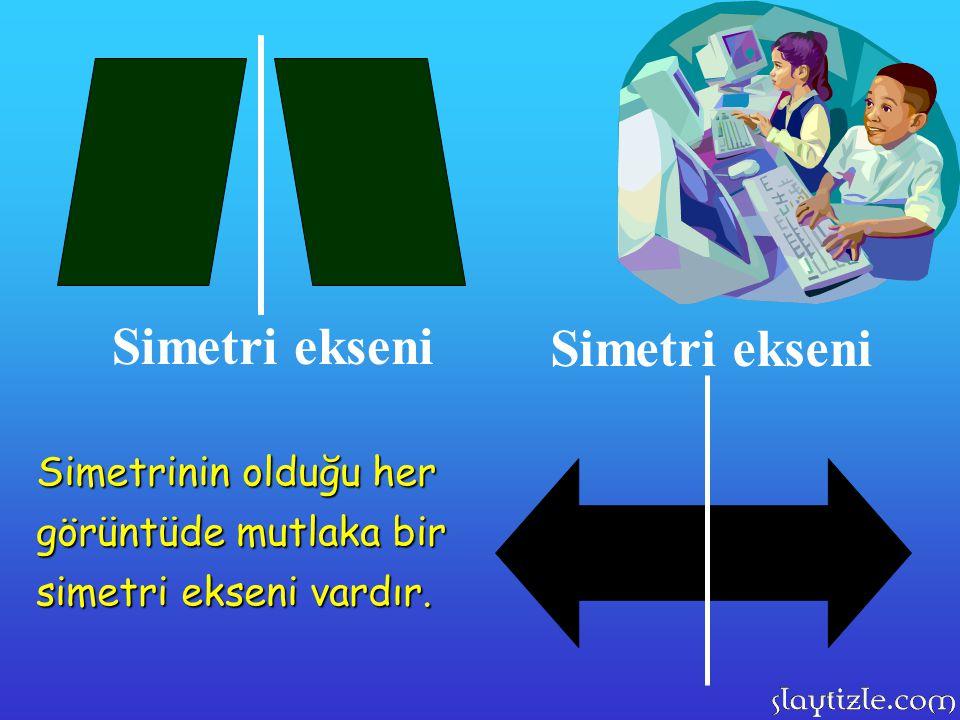 Simetri ekseni Simetrinin olduğu her görüntüde mutlaka bir simetri ekseni vardır.