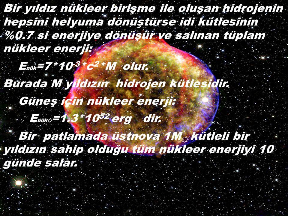 Bir yıldız nükleer birlşme ile oluşan hidrojenin hepsini helyuma dönüştürse idi kütlesinin %0.7 si enerjiye dönüşür ve salınan tüplam nükleer enerji: E nük =7*10 -3 *c 2 *M olur.