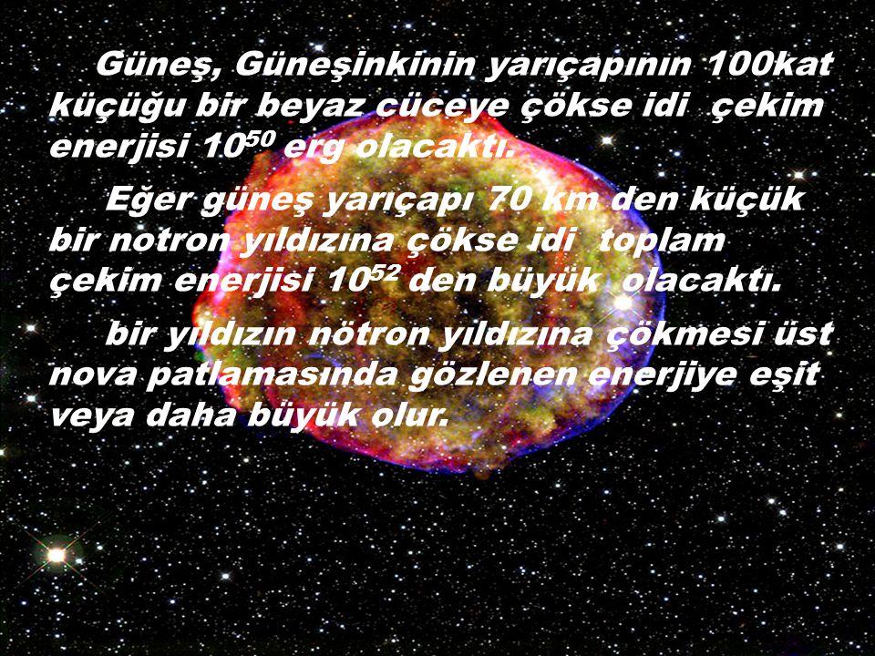 Güneş, Güneşinkinin yarıçapının 100kat küçüğu bir beyaz cüceye çökse idi çekim enerjisi 10 50 erg olacaktı.