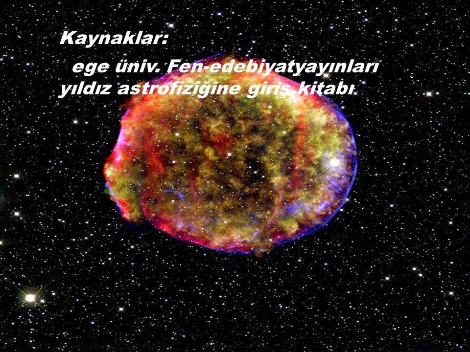 Kaynaklar: ege üniv. Fen-edebiyatyayınları yıldız astrofiziğine giriş kitabı