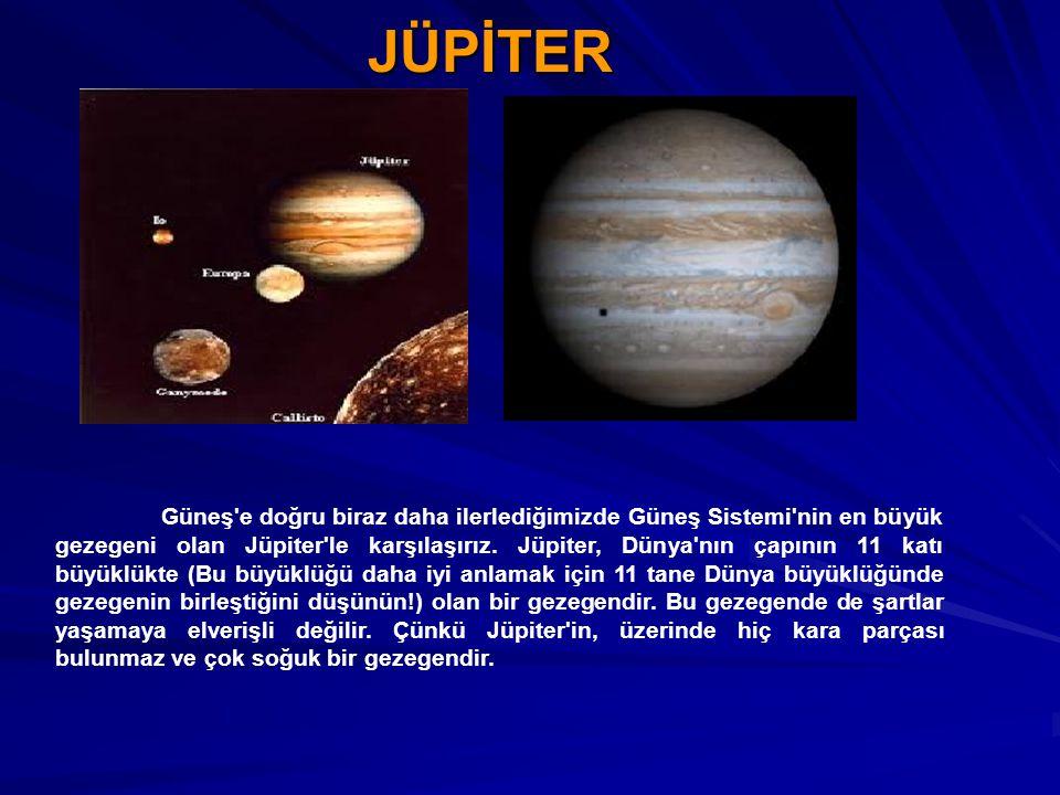 JÜPİTER Güneş'e doğru biraz daha ilerlediğimizde Güneş Sistemi'nin en büyük gezegeni olan Jüpiter'le karşılaşırız. Jüpiter, Dünya'nın çapının 11 katı