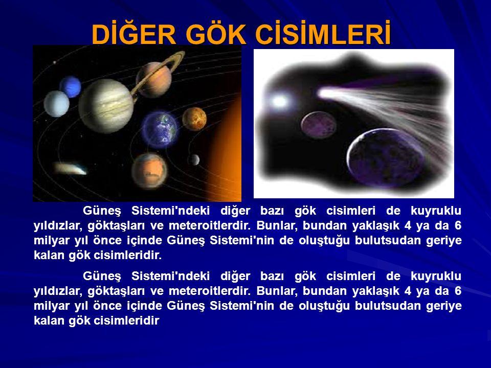 DİĞER GÖK CİSİMLERİ Güneş Sistemi'ndeki diğer bazı gök cisimleri de kuyruklu yıldızlar, göktaşları ve meteroitlerdir. Bunlar, bundan yaklaşık 4 ya da