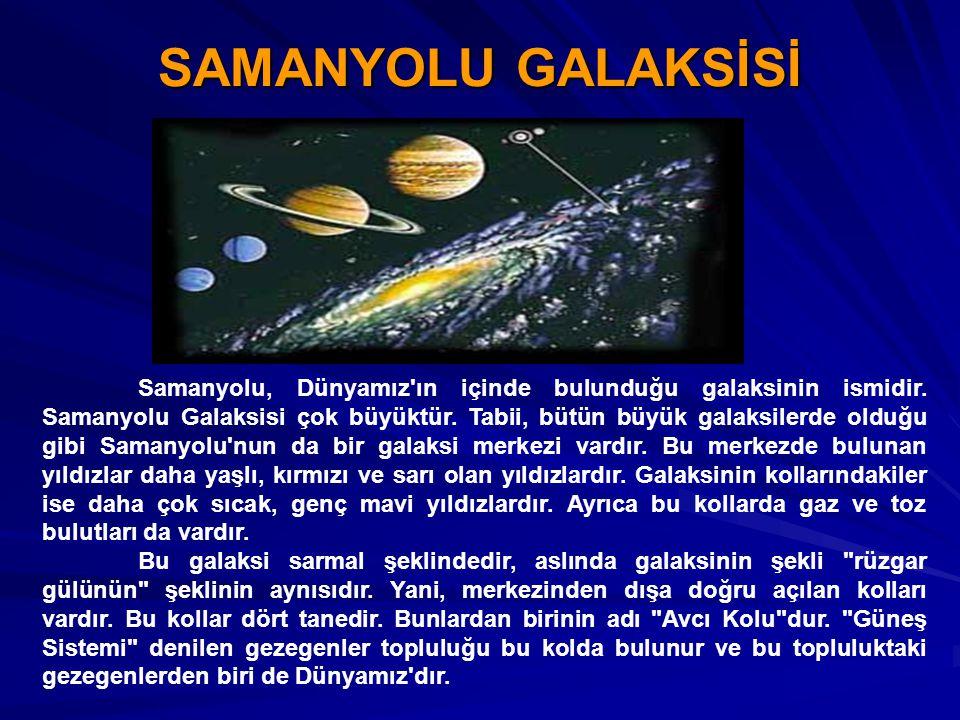 SAMANYOLU GALAKSİSİ Samanyolu, Dünyamız'ın içinde bulunduğu galaksinin ismidir. Samanyolu Galaksisi çok büyüktür. Tabii, bütün büyük galaksilerde oldu