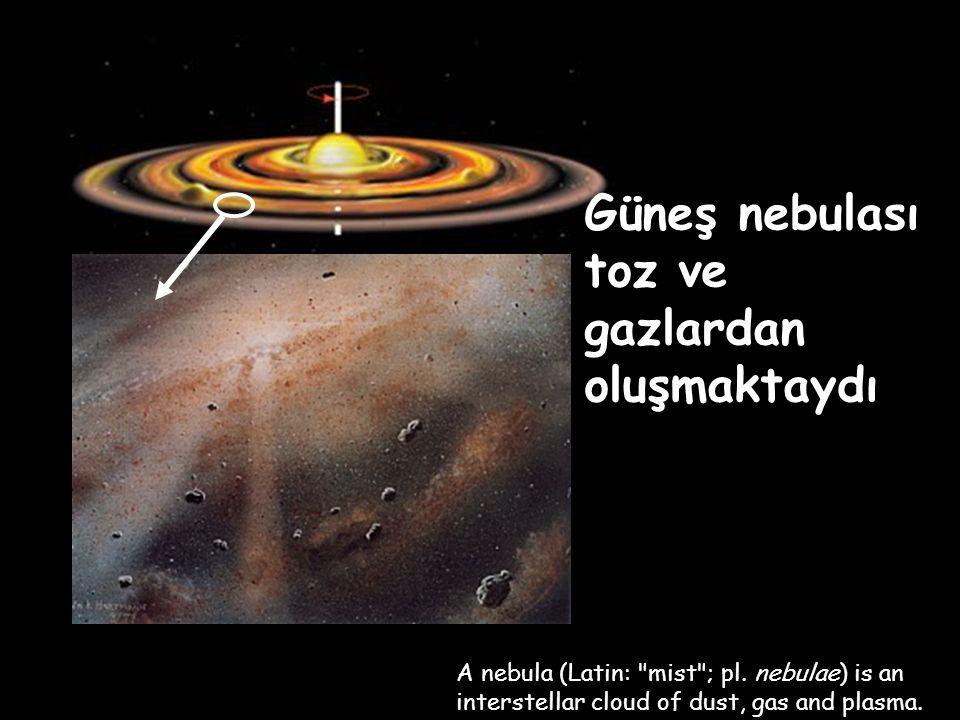 Güneş nebulası toz ve gazlardan oluşmaktaydı A nebula (Latin: mist ; pl.