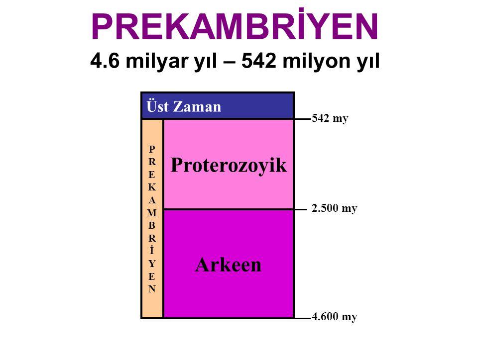PREKAMBRİYEN 4.6 milyar yıl – 542 milyon yıl Arkeen Proterozoyik PREKAMBRİYENPREKAMBRİYEN Üst Zaman 2.500 my 4.600 my 542 my
