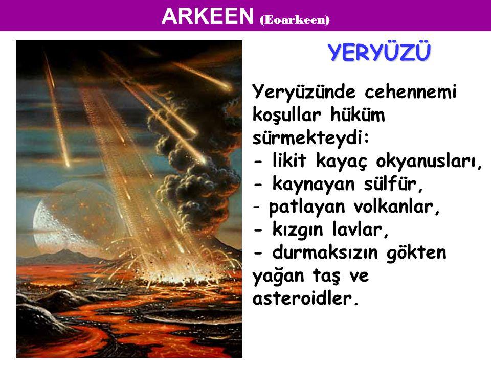 ARKEEN (Eoarkeen) Yeryüzünde cehennemi koşullar hüküm sürmekteydi: - likit kayaç okyanusları, - kaynayan sülfür, - patlayan volkanlar, - kızgın lavlar, - durmaksızın gökten yağan taş ve asteroidler.