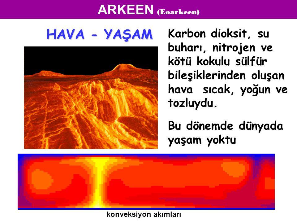 Karbon dioksit, su buharı, nitrojen ve kötü kokulu sülfür bileşiklerinden oluşan hava sıcak, yoğun ve tozluydu. Bu dönemde dünyada yaşam yoktu konveks