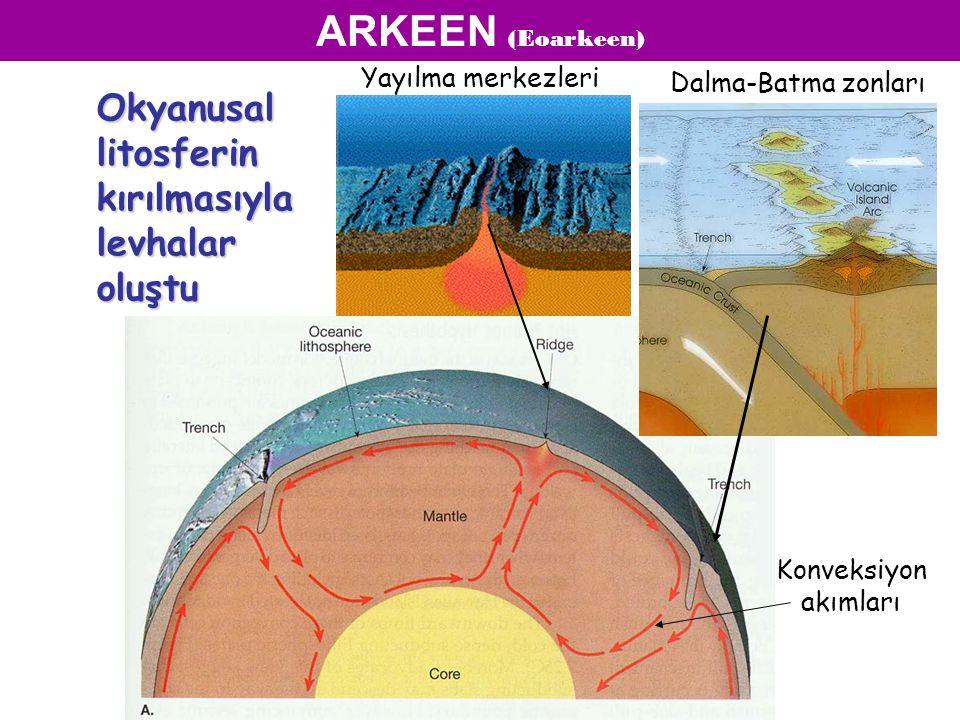 Yayılma merkezleri Dalma-Batma zonları Okyanusal litosferin kırılmasıyla levhalar oluştu ARKEEN (Eoarkeen) Konveksiyon akımları