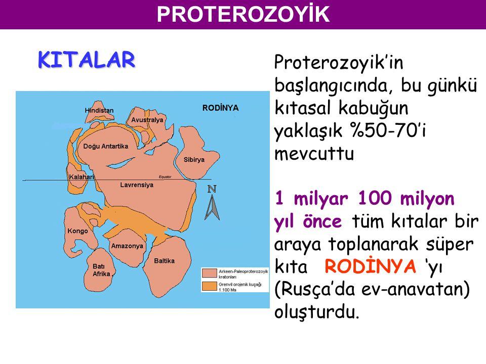 PROTEROZOYİK Proterozoyik'in başlangıcında, bu günkü kıtasal kabuğun yaklaşık %50-70'i mevcuttu 1 milyar 100 milyon yıl önce tüm kıtalar bir araya toplanarak süper kıta RODİNYA 'yı (Rusça'da ev-anavatan) oluşturdu.