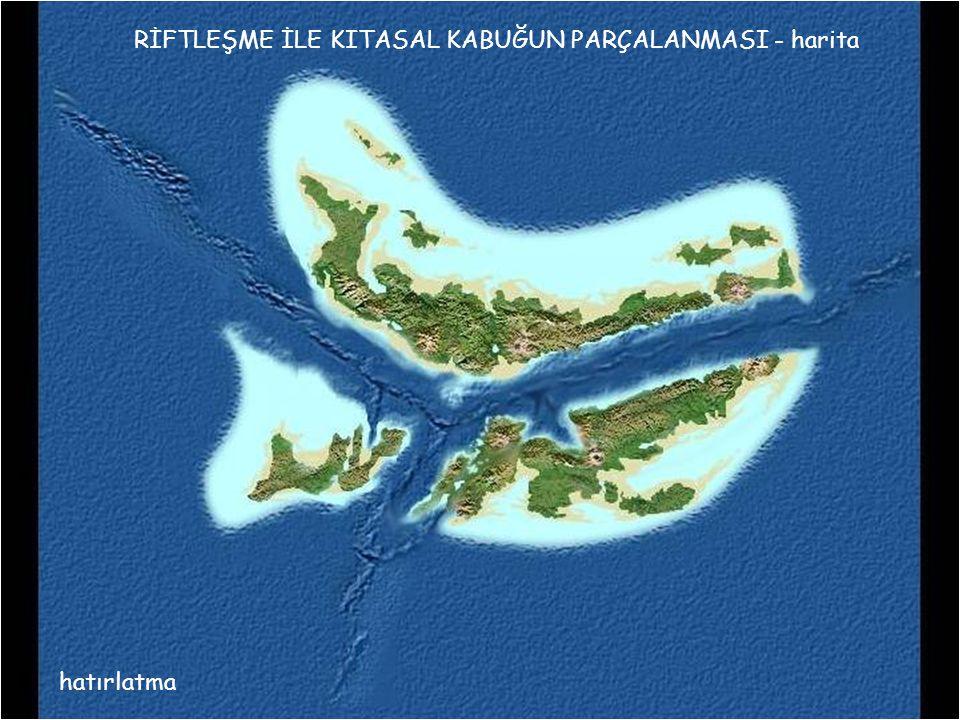 hatırlatma RİFTLEŞME İLE KITASAL KABUĞUN PARÇALANMASI - harita