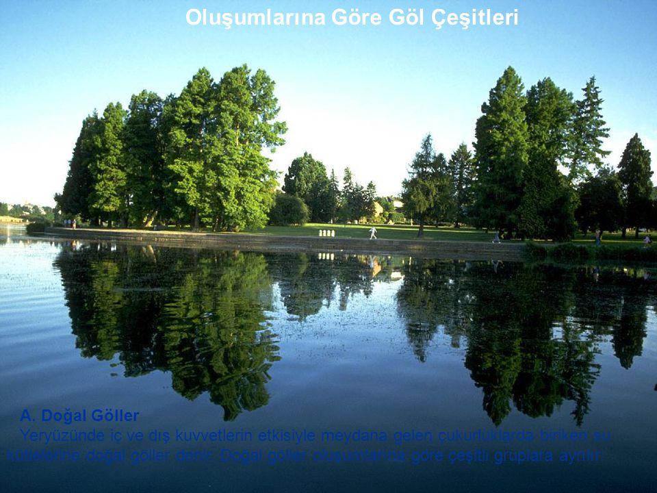 Oluşumlarına Göre Göl Çeşitleri A. Doğal Göller Yeryüzünde iç ve dış kuvvetlerin etkisiyle meydana gelen çukurluklarda biriken su kütlelerine doğal gö