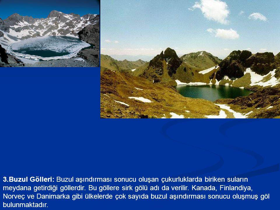 3.Buzul Gölleri: Buzul aşındırması sonucu oluşan çukurluklarda biriken suların meydana getirdiği göllerdir. Bu göllere sirk gölü adı da verilir. Kanad