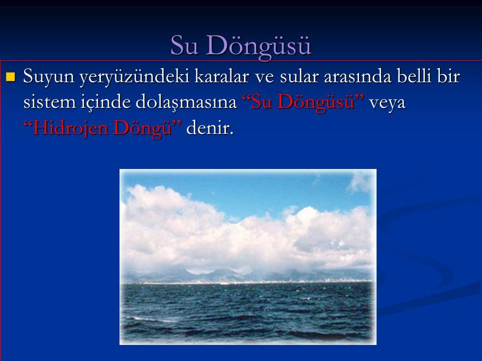 """Su Döngüsü Suyun yeryüzündeki karalar ve sular arasında belli bir sistem içinde dolaşmasına """"Su Döngüsü"""" veya """"Hidrojen Döngü"""" denir. Suyun yeryüzünde"""