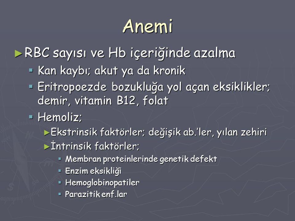 Anemi ► RBC sayısı ve Hb içeriğinde azalma  Kan kaybı; akut ya da kronik  Eritropoezde bozukluğa yol açan eksiklikler; demir, vitamin B12, folat  H