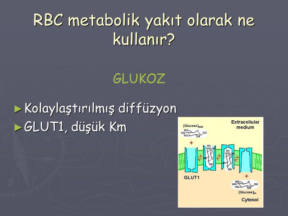 RBC metabolik yakıt olarak ne kullanır? ► Kolaylaştırılmış diffüzyon ► GLUT1, düşük Km GLUKOZ