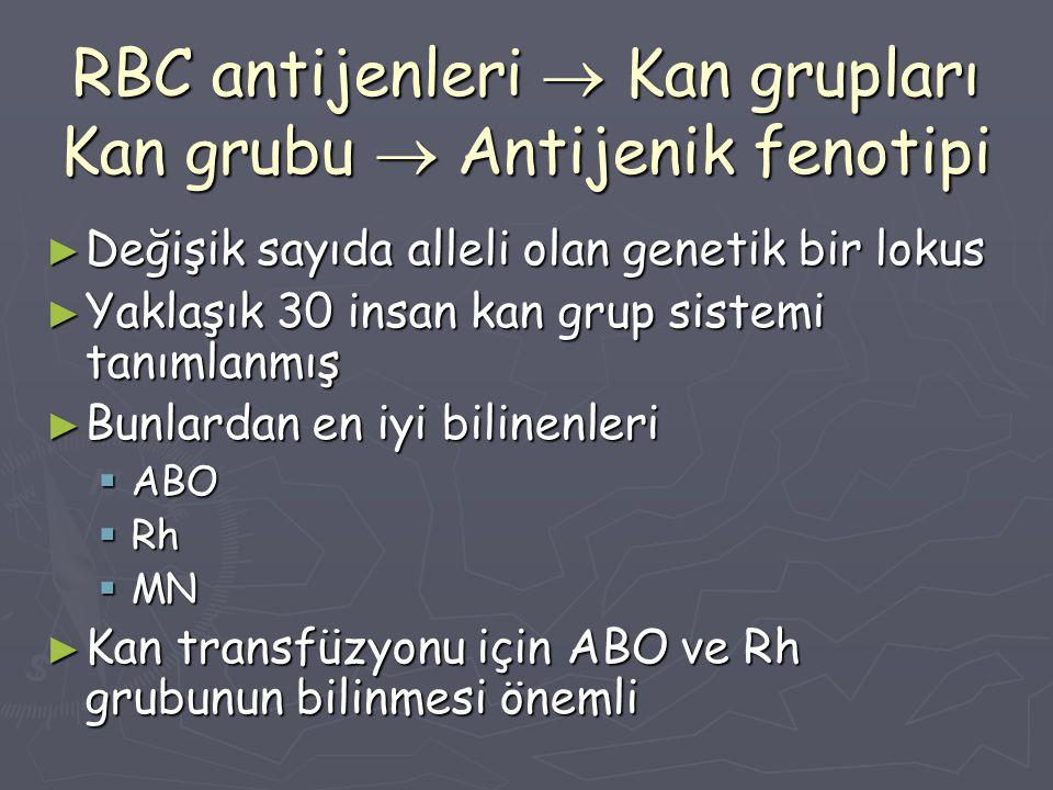 RBC antijenleri  Kan grupları Kan grubu  Antijenik fenotipi ► Değişik sayıda alleli olan genetik bir lokus ► Yaklaşık 30 insan kan grup sistemi tanı