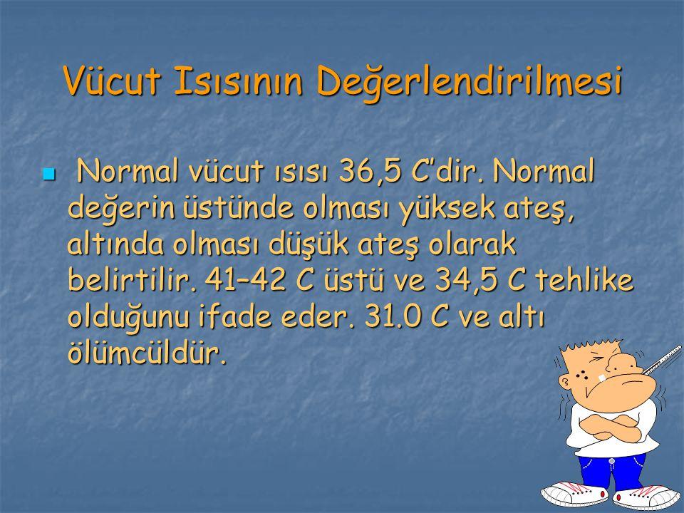 Vücut Isısının Değerlendirilmesi Normal vücut ısısı 36,5 C'dir.
