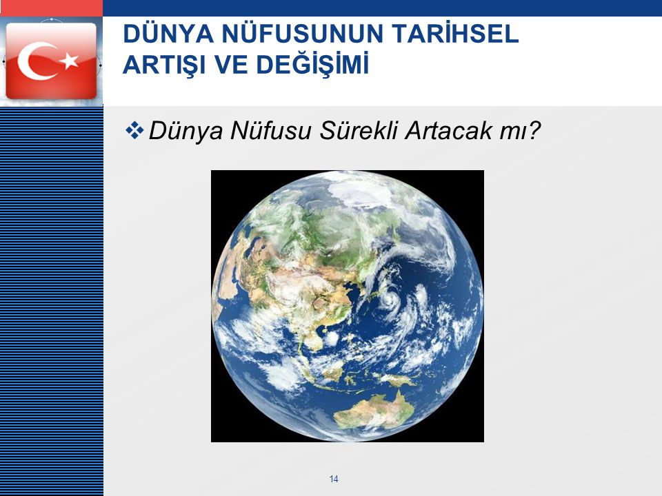 LOGO 14 DÜNYA NÜFUSUNUN TARİHSEL ARTIŞI VE DEĞİŞİMİ  Dünya Nüfusu Sürekli Artacak mı?