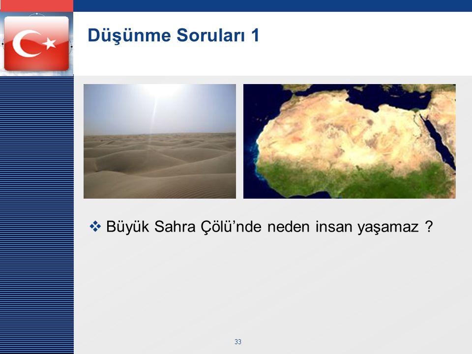 LOGO 33 Düşünme Soruları 1  Büyük Sahra Çölü'nde neden insan yaşamaz ?