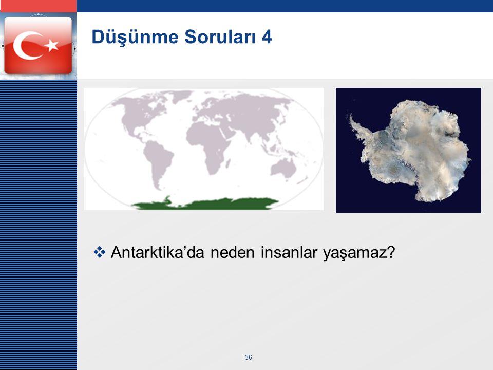 LOGO 36 Düşünme Soruları 4  Antarktika'da neden insanlar yaşamaz?