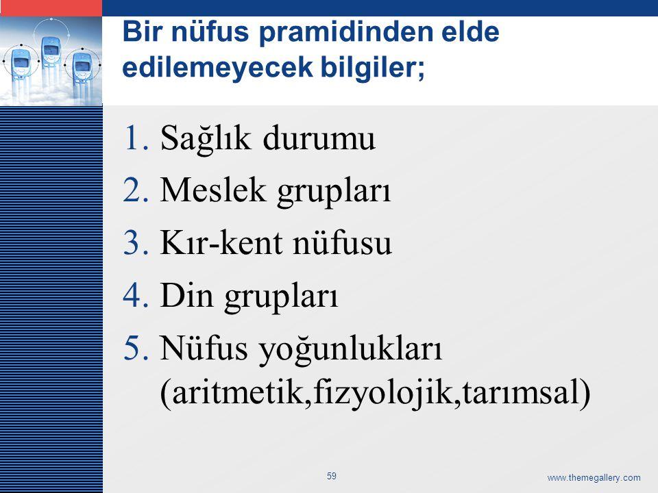 LOGO Bir nüfus pramidinden elde edilemeyecek bilgiler; 1.Sağlık durumu 2.Meslek grupları 3.Kır-kent nüfusu 4.Din grupları 5.Nüfus yoğunlukları (aritmetik,fizyolojik,tarımsal) www.themegallery.com 59