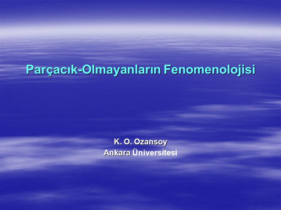 Parçacık-Olmayanların Fenomenolojisi K. O. Ozansoy Ankara Ankara Üniversitesi