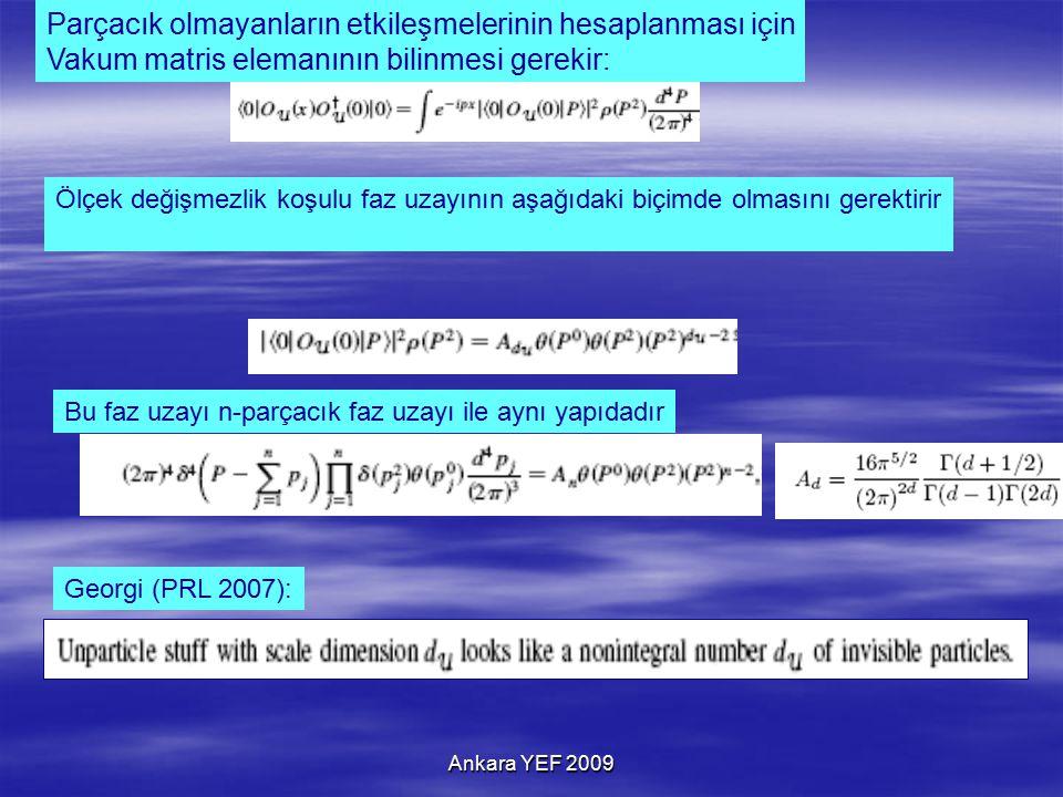 Ankara YEF 2009 Parçacık olmayanların etkileşmelerinin hesaplanması için Vakum matris elemanının bilinmesi gerekir: Ölçek değişmezlik koşulu faz uzayının aşağıdaki biçimde olmasını gerektirir Bu faz uzayı n-parçacık faz uzayı ile aynı yapıdadır Georgi (PRL 2007):