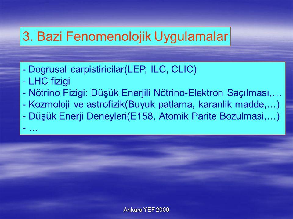 3. Bazi Fenomenolojik Uygulamalar - Dogrusal carpistiricilar(LEP, ILC, CLIC) - LHC fizigi - Nötrino Fizigi: Düşük Enerjili Nötrino-Elektron Saçılması,