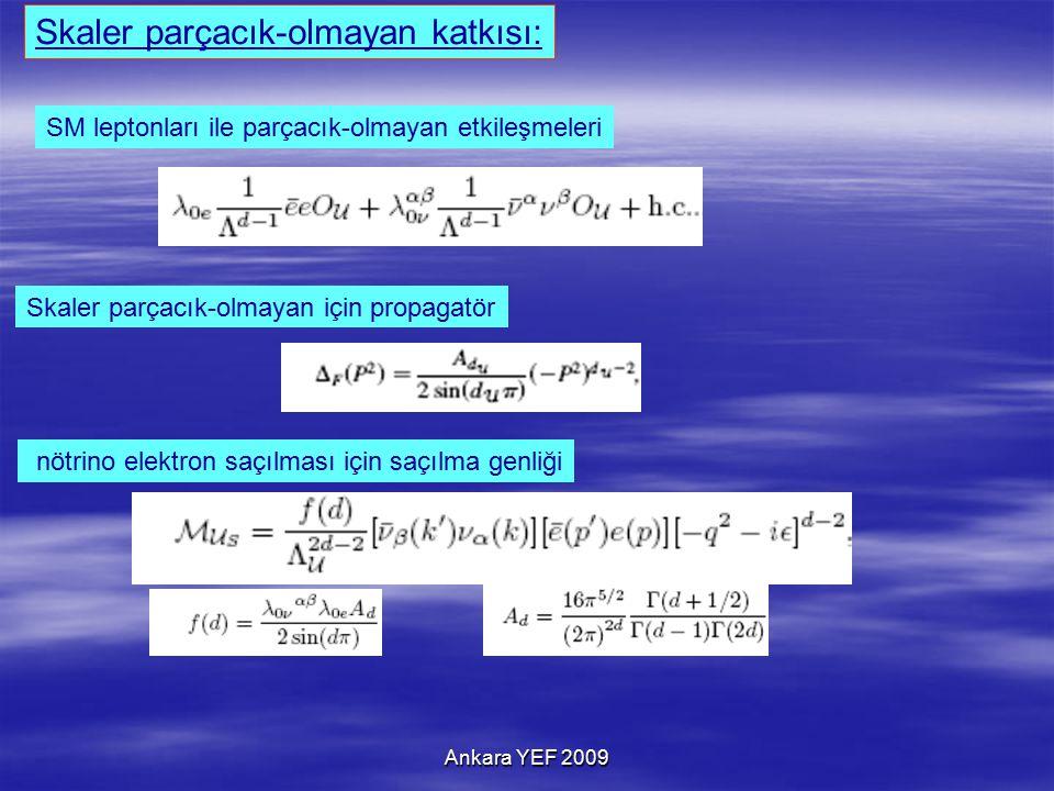 Ankara YEF 2009 SM leptonları ile parçacık-olmayan etkileşmeleri Skaler parçacık-olmayan katkısı: nötrino elektron saçılması için saçılma genliği Skaler parçacık-olmayan için propagatör