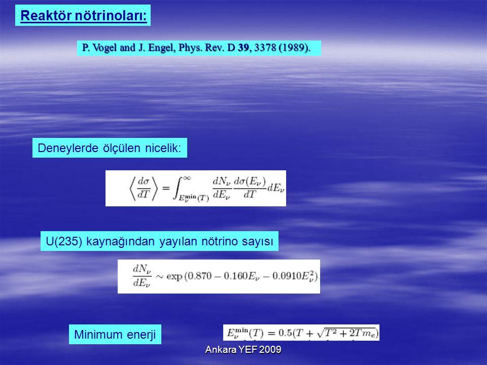Ankara YEF 2009 U(235) kaynağından yayılan nötrino sayısı Deneylerde ölçülen nicelik: Minimum enerji P.