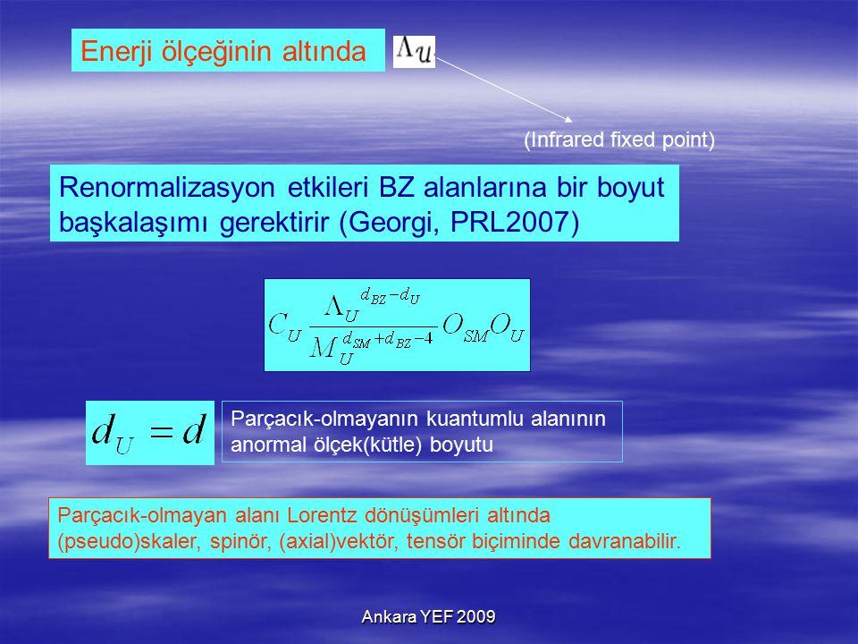 Ankara YEF 2009 Enerji ölçeğinin altında Renormalizasyon etkileri BZ alanlarına bir boyut başkalaşımı gerektirir (Georgi, PRL2007) (Infrared fixed point) Parçacık-olmayanın kuantumlu alanının anormal ölçek(kütle) boyutu Parçacık-olmayan alanı Lorentz dönüşümleri altında (pseudo)skaler, spinör, (axial)vektör, tensör biçiminde davranabilir.
