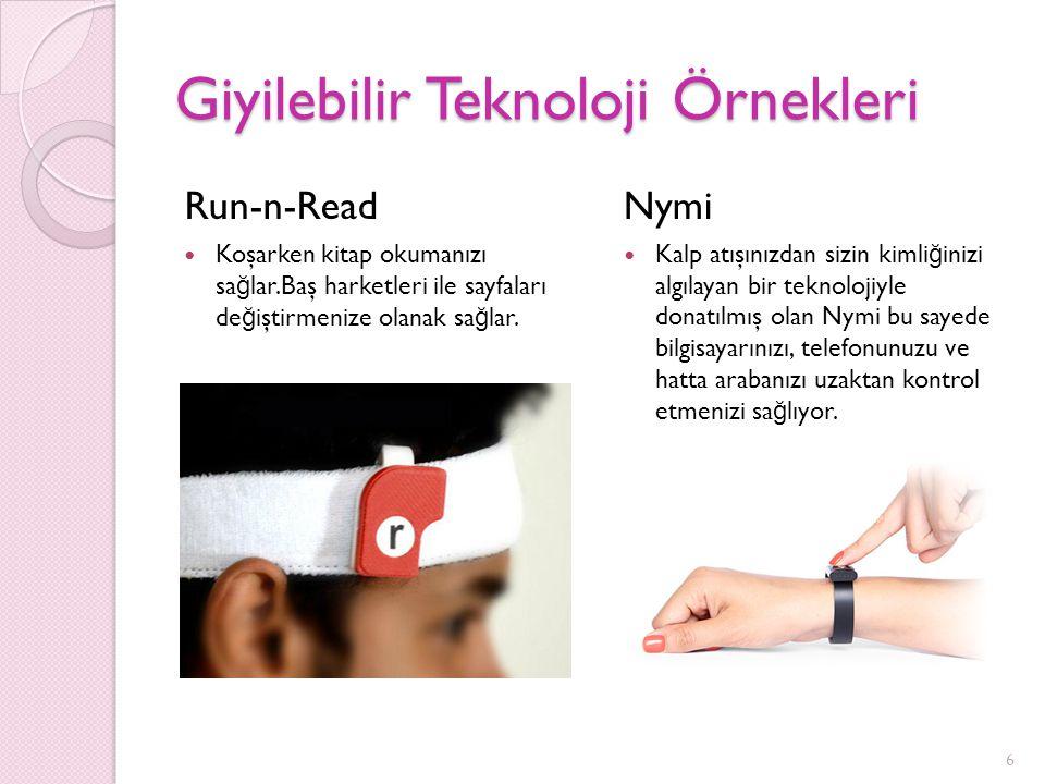 Giyilebilir Teknoloji Örnekleri Run-n-Read Koşarken kitap okumanızı sa ğ lar.Baş harketleri ile sayfaları de ğ iştirmenize olanak sa ğ lar. Nymi Kalp