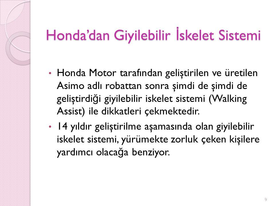 Honda'dan Giyilebilir İ skelet Sistemi Honda Motor tarafından geliştirilen ve üretilen Asimo adlı robattan sonra şimdi de şimdi de geliştirdi ğ i giyilebilir iskelet sistemi (Walking Assist) ile dikkatleri çekmektedir.