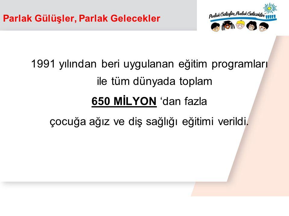 1991 yılından beri uygulanan eğitim programları ile tüm dünyada toplam 650 MİLYON 'dan fazla çocuğa ağız ve diş sağlığı eğitimi verildi.