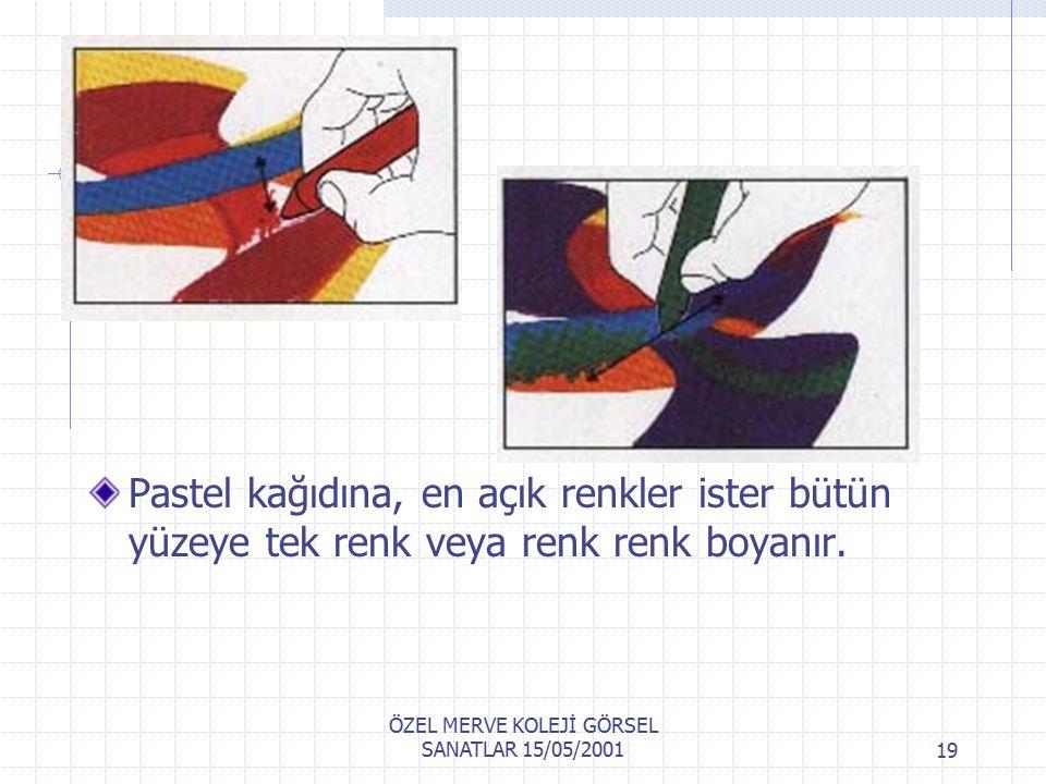 ÖZEL MERVE KOLEJİ GÖRSEL SANATLAR 15/05/200118 Islatılmış fırça ile boyanmış yüzeye istediğiniz sonuç meydana gelinceye kadar ıslak fırça ile boyama tamamlanır.