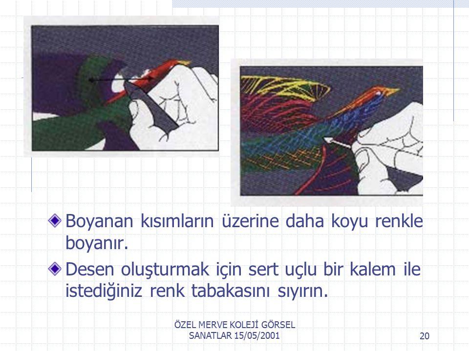 ÖZEL MERVE KOLEJİ GÖRSEL SANATLAR 15/05/200119 Pastel kağıdına, en açık renkler ister bütün yüzeye tek renk veya renk boyanır.