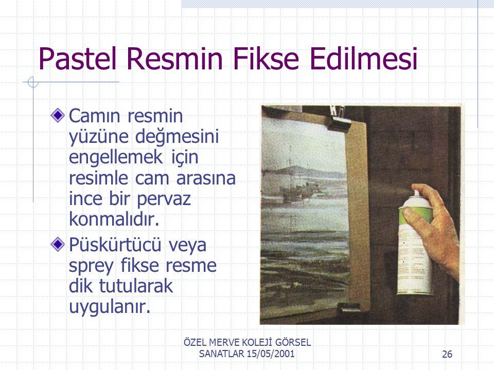 ÖZEL MERVE KOLEJİ GÖRSEL SANATLAR 15/05/200125 Pastel Boya Resimlerin Korunması Camın resmin yüzüne değmesini engellemek için resimle cam arasına ince bir pervaz konmalıdır.