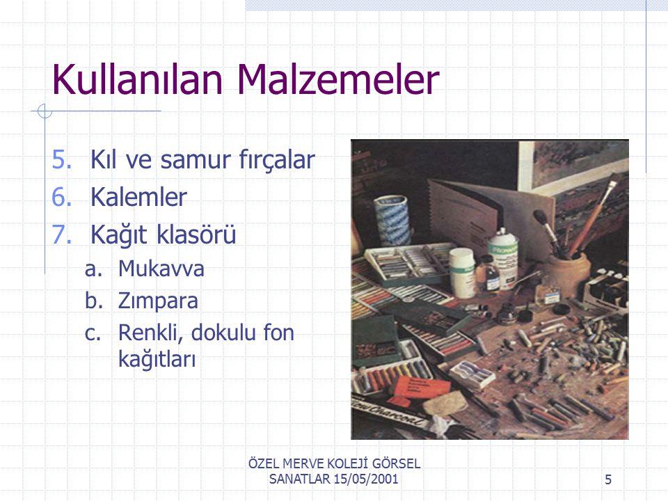 ÖZEL MERVE KOLEJİ GÖRSEL SANATLAR 15/05/20014 Kullanılan Malzemeler Çok çeşitli renklerde pastel boyalar.
