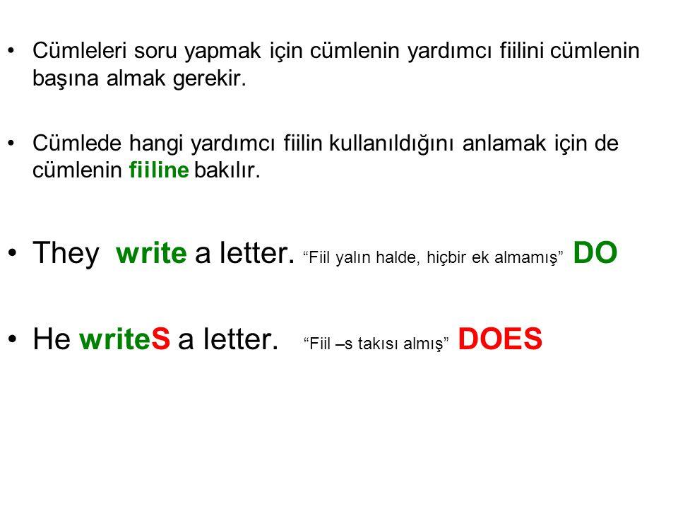 Cümleleri soru yapmak için cümlenin yardımcı fiilini cümlenin başına almak gerekir. Cümlede hangi yardımcı fiilin kullanıldığını anlamak için de cümle