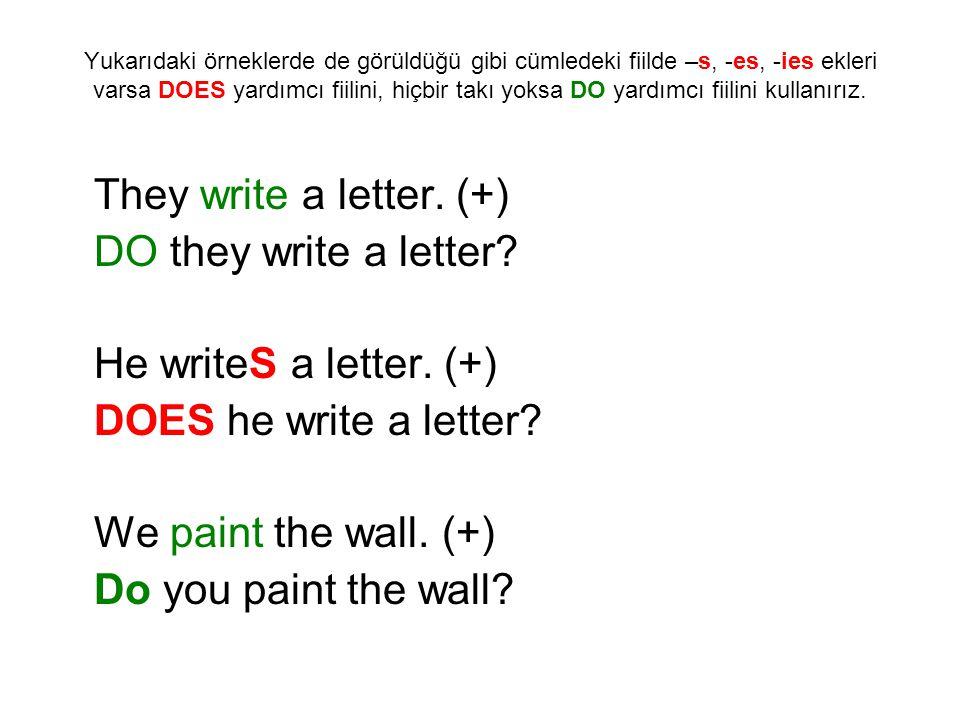 Yukarıdaki örneklerde de görüldüğü gibi cümledeki fiilde –s, -es, -ies ekleri varsa DOES yardımcı fiilini, hiçbir takı yoksa DO yardımcı fiilini kulla
